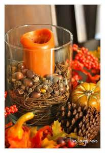 Fall Centerpieces Using Acorns