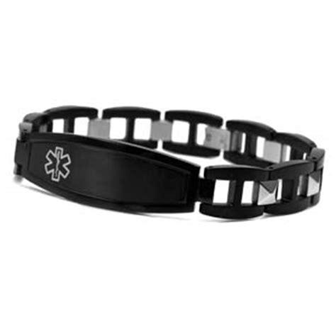 mens medical id black stainless steel bracelet