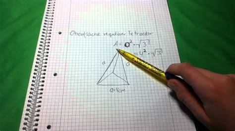 oberflaeche eines tetraeders berechnen  gehts youtube