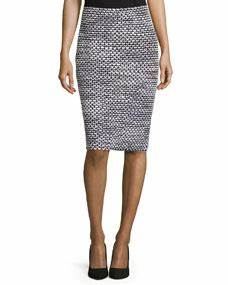 St John Collection Mod Check Pencil Skirt Black Bright White