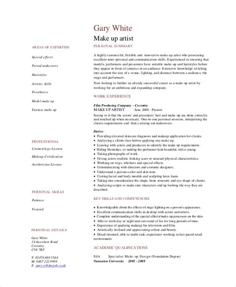 Artist Resumes by 5 Makeup Artist Resume Templates Pdf Doc Free