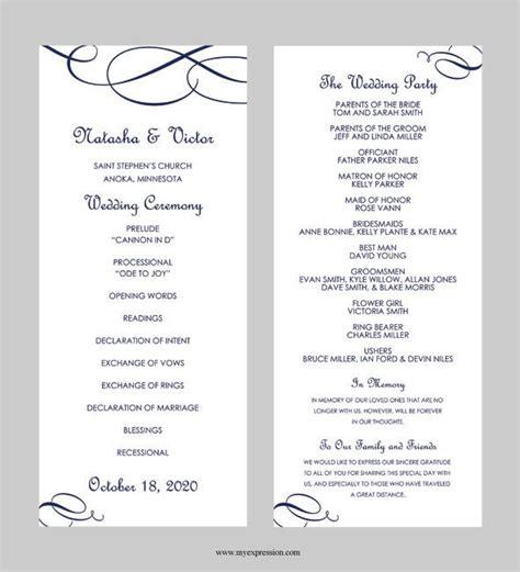 wedding program template tea length calligraphic flourish navy blue instant