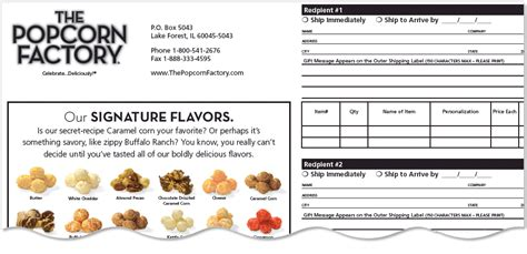 Order Form for The Popcorn Factory
