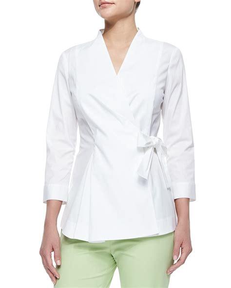 tie blouse lafayette 148 york jillian wrap blouse w side tie in