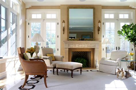 Living Room With Fireplace And Doors by Looking Ottoman Slipcover In Living Room Contemporary