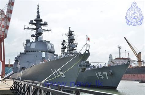 visiting japanese naval ships holds passing exercise