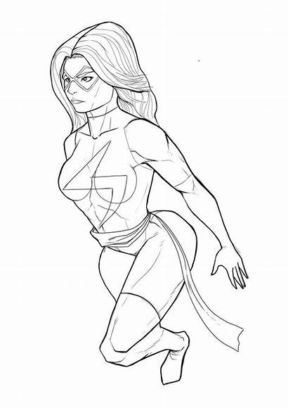 Coloring Ms Marvel Avengers Printable Adults Comics