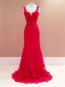 mermaid scoop sweep train backless red lace prom dress With robe rouge en dentelle