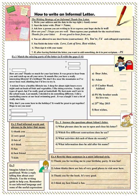 write  informal letter worksheet  esl