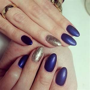 Image Gallery navy blue matte nails