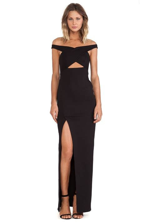 nicholas event cross  poly blend dress  black