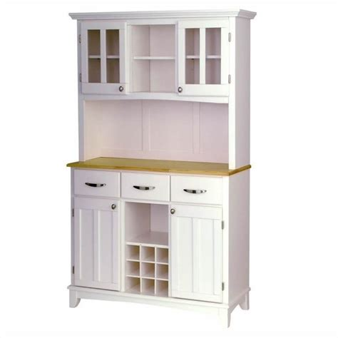 Furniture Wood Top Buffet Server And 2 Door Hutch In White