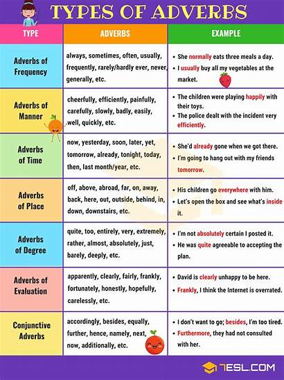 Adverbs Types Adverb Examples Different Useful 7esl