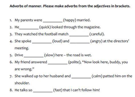 worksheet adverbs  manner  worksheet
