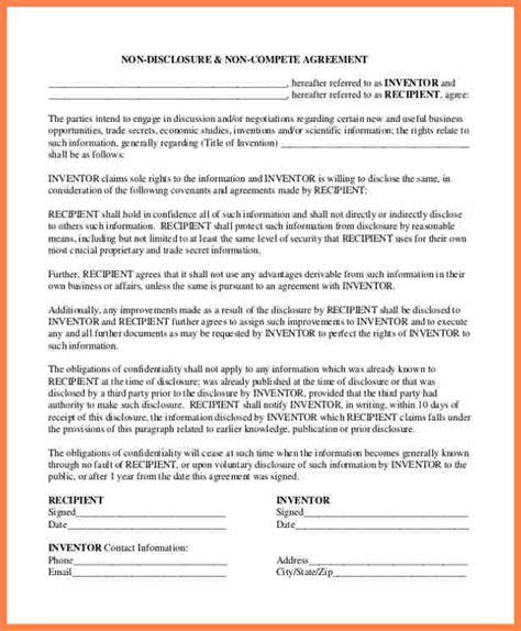 Non Compete Agreement Template 6 Non Disclosure Non Compete Agreement Template