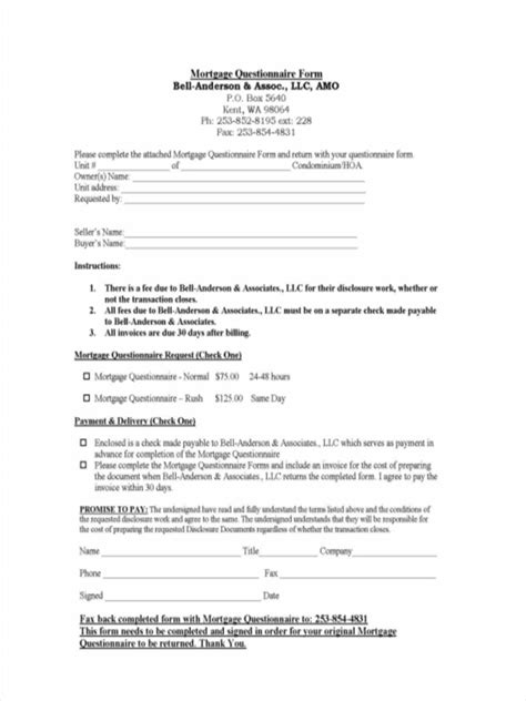 sample mortgage questionnaire forms  word