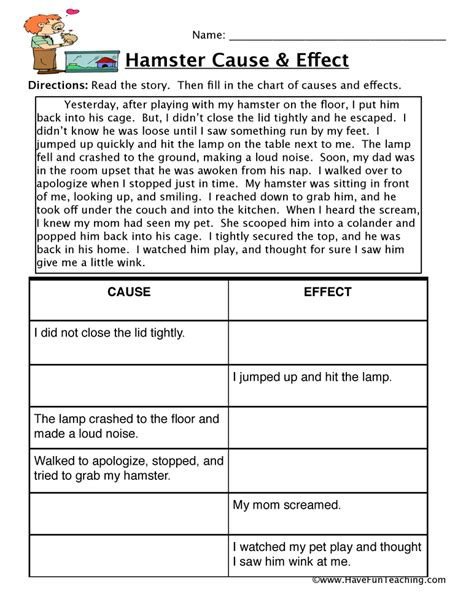 cause and effect worksheets teaching