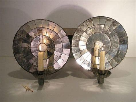 Tin Candle Sconces - aafa pair tin mirrored back wall sconces single light