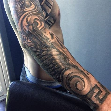 full sleeve wings stone tattoo  men tattoos tattoos
