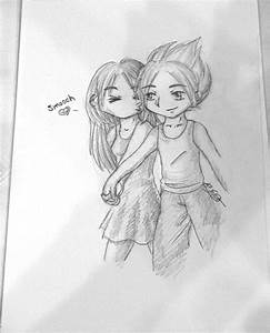 Cute Couple Cuddling Drawing images