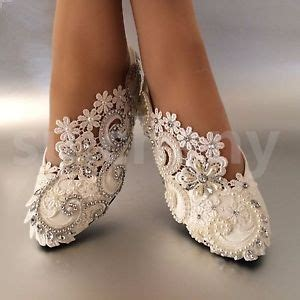 Wedding Flats by Su Cheny White Ivory Pearls Rhinestones Lace Flat Wedding