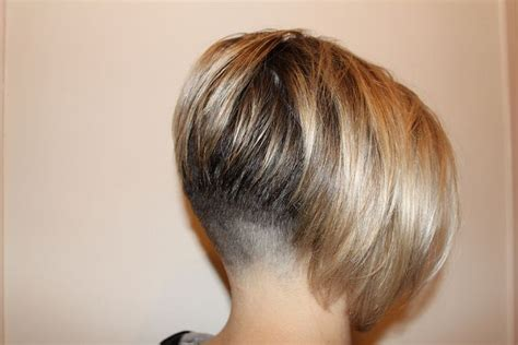 faded nape clippered bob angled inverted blonde cute