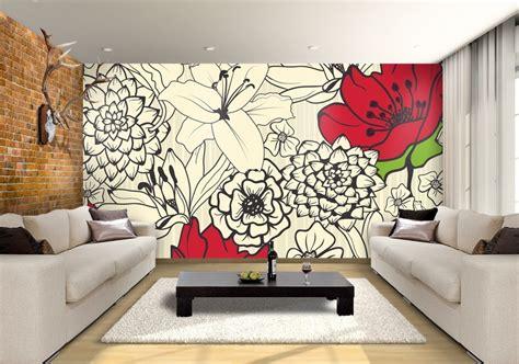 red flowers custom wallpaper mural print  jw shutterstock