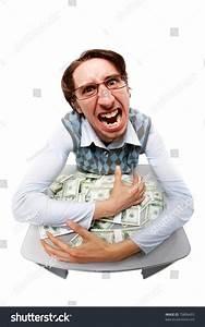 Portrait Greedy Man Hiding His Money Stock Photo 70806493 ...