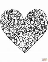 Coloring Heart Pages Zentangle Printable Paper Drawing Puzzle sketch template
