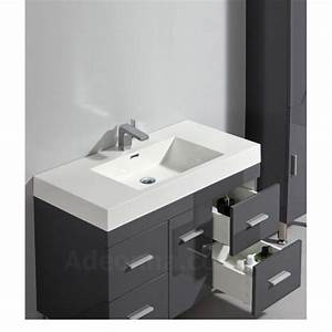 Meuble Salle De Bain Gris : meuble gris 100 cm avec simple vasque 4 tiroirs et 2 portes meuble poser ~ Teatrodelosmanantiales.com Idées de Décoration