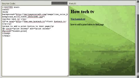 how to add a print button to html page youtube