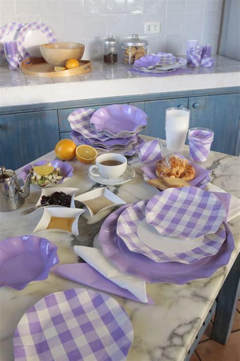 piatti bicchieri plastica coordinato tavola usa e getta vichy lilla piatti in