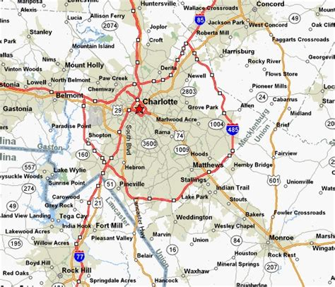 maps  charlotte north carolina area charlotte nc area