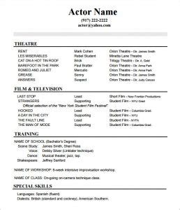Resume Performa by Acting Resume No Experience Template Acting Studio Chicago