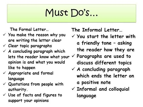 formal  informal letter letters  sample letters