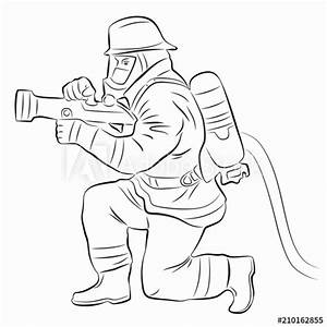 Illustration Of A Fireman Vector Draw Buy This Stock