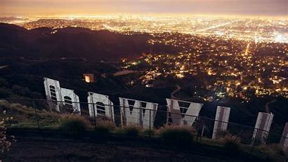 Hollywood York Sign Lights Palm Mansions Celebrities