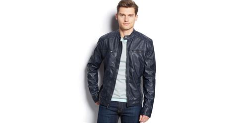 michael kors michael conway faux leather moto jacket in