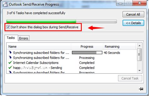 Office 365 Outlook Won T Send Emails by How To Disable Send Receive Progress Dialog Box Popup In