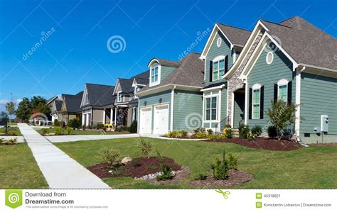 Street Of Residential Houses Stock Image  Image Of