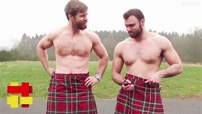 Kilts Scotsmen Smoking Burns Under Guys Celebrate