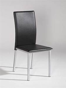 Simple design black leather dining chair with silver legs for Black chair design
