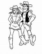 Coloring Cowgirl Dance Step Doing Ten Play sketch template