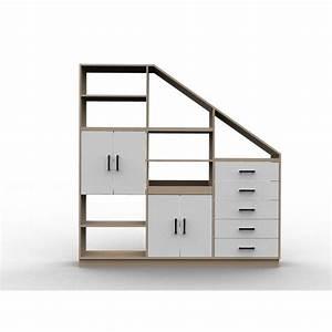 meuble bois et blanc sous comble a configurer facilement With meuble pour separation de piece 3 meuble sous pente ou sous escalier sur mesure
