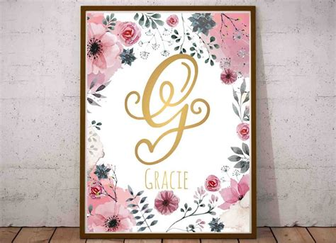 gracie  art gracie  sign gold calligraphy names grace gold letter print custom