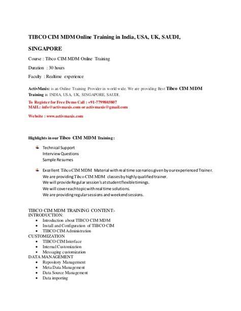 Tibco Mdm Resume by Tibco Cim Mdm 91 7799803807 Activmaxis