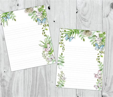 watercolor butterfly garden stationery paper printable