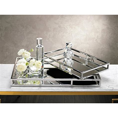 Mirrored Bathroom Tray by Beautiful Mirrored Tray With Chrome Rails Square