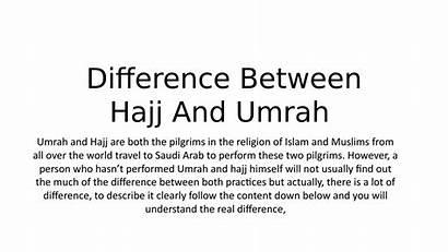 Difference Hajj Umrah Between