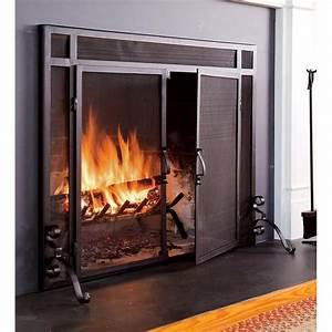 Plow, U0026, Hearth, Single, Panel, Steel, Fireplace, Screen, U0026, Reviews